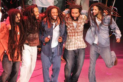 Reggae legend Bob Marley wasn't shy about producing offspring, fathering no less than 13 kids with a variety of ladies before he died in 1981. Many of them have followed him into the music biz, and they're not short of talent. Here are (L-R) Damian, Ziggy, Stephen, Kymani and Julian keeping the <i>One Love </i> alive on tour in Europe.