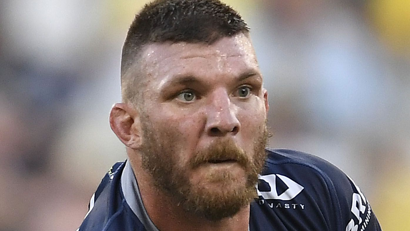 Josh McGuire of the Cowboys runs the ball during the round three NRL match between the North Queensland Cowboys and the Gold Coast Titans at QCB Stadium on March 28, 2021, in Townsville, Australia.