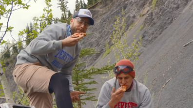 Hamish and Andy launch a pizza off a cliff