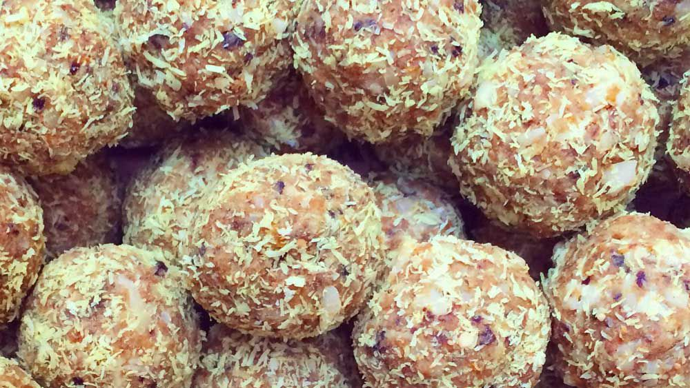 Tropical turmeric protein balls by Jordanna Levin for Isowhey