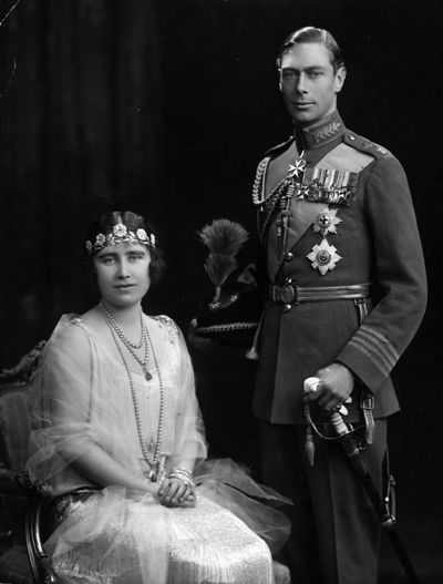Queen Elizabeth the Queen Mother and King George VI on their wedding day, 26th April 1923.