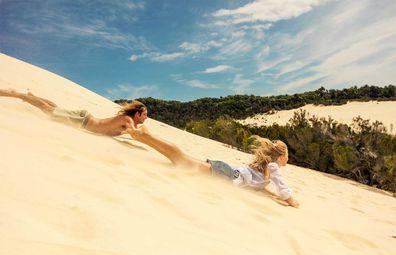 Tangalooma sand dune tabogganing