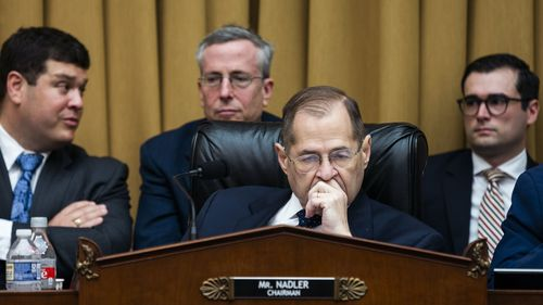 Chairman of the House Judiciary Committee Jerry Nadler (centre) at a committee markup to hold Attorney General William Barr in contempt of Congress for refusal to comply with a subpoena.