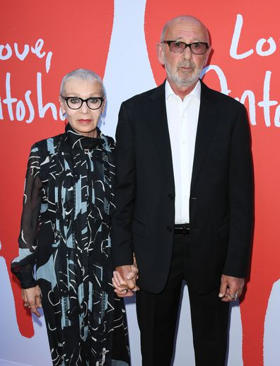 Anton Yelchin's parents Irina and Victor attend the LA Premiere Of 'Love, Antosha' on July 30.