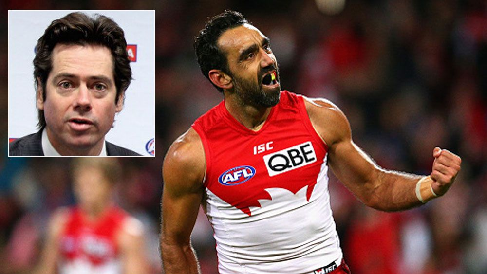 Adam Goodes and (inset) Gillion McLachlan. (Getty)