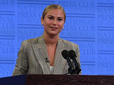 Grace Tame speaks at the National Press Club on March 03, 2021 in Canberra, Australia. Tame, named Australian of the Year for her advocacy work for sexual assault survivors, has called for a definition of consent to be established federally and taught in schools as early as possible.  (Photo by Sam Mooy/Getty Images)
