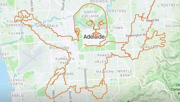 Cyclist uses GPS to recreate Nirvana cover in Adelaide