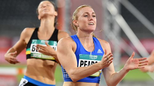 Pearson told 9NEWS she isn't placing pressure on herself for the World Indoor Championships in Birmingham because she wants to perform on her home turf (AAP).