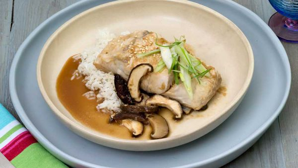 Steamed barramundi fillets with lime, ginger and shiitake