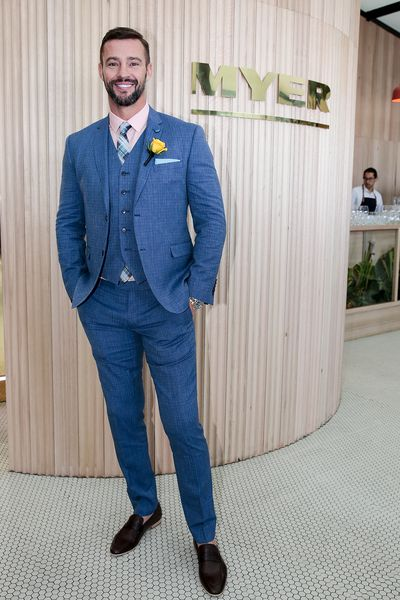 Myer Ambassador Kris Smith in a suit from Gibson Clothing