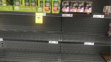 Empty pet food shelves at Australian supermarkets.