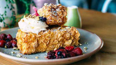 "Recipe: <a href=""http://kitchen.nine.com.au/2017/06/09/14/16/wild-sage-cornflake-crumbed-french-toast"" target=""_top"">Wild Sage's Cornflake crumbed French toast with berries and mascarpone</a>"