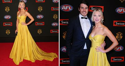 Candice Quinlan, partner of Isaac Smith of the Hawthorn Hawks, looked striking in yellow last year. (Getty/AAP)