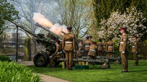 Soldiers from 4th Regiment Royal Artillery fire a 21-gun salute in York to celebrate Queen Elizabeth II's 92nd birthday. (PA)