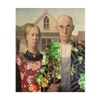 "According to <a href=""http://www.themostfamousartist.com/"" target=""_blank"">its website</a>, artist collective The Most Famous Artist, ""repurpose found or foraged paintings and objects of forgotten artists and people."" In this re-appropriated piece, the subject of Grant Wood's 'American Gothic' wear Gucci blooms - naturally."