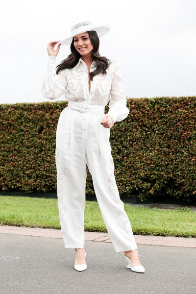 Jessica Gomes opted for white from head to toe.