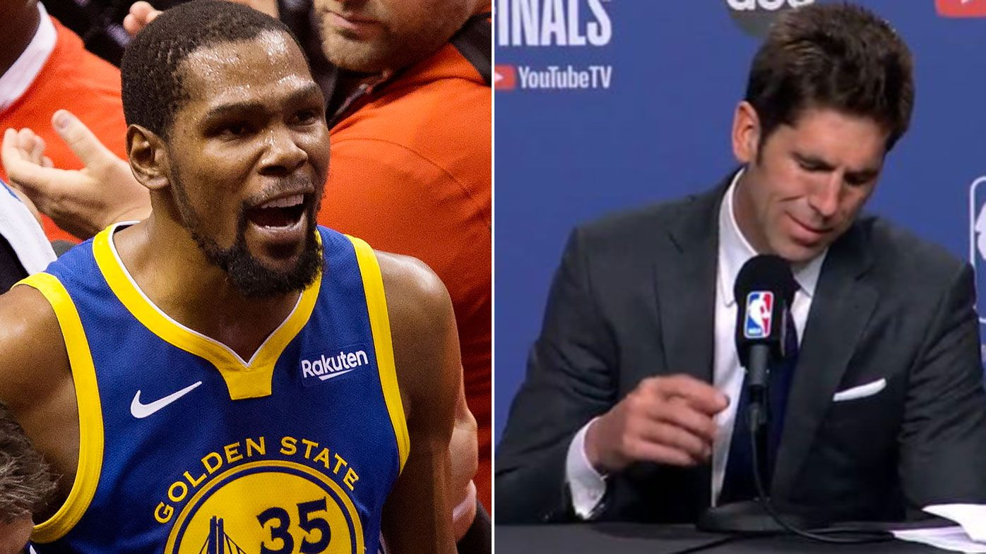 Warriors GM Bob Myers breaks down over injury to Kevin Durant