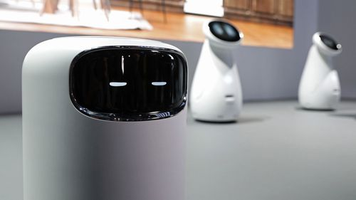 The Bot Air air filtering robot is displayed in the Samsung booth at CES International.