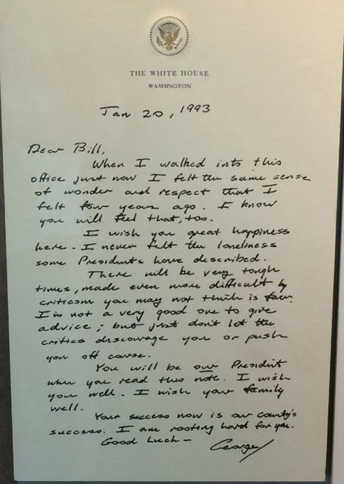 George H.W. Bush left this magnanimous, bipartisan & dignified note for Bill Clinton on January 20, 1993.