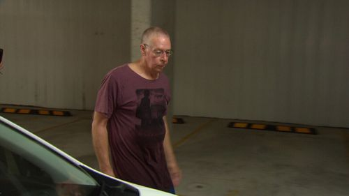 Graham James Kay in the basement of his unit today. (9NEWS)
