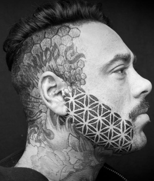 While most of the tattoos look sporadic, the artists also create patterns for their customers. (Facebook / Brutal Black Project)