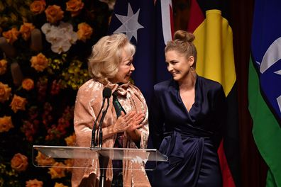 Blanche d'Alpuget,and Hawke's granddaughter Sophie Taylor-Price speak during the State Memorial service for the former prime minister. (AAP Image/Dean Lewins)