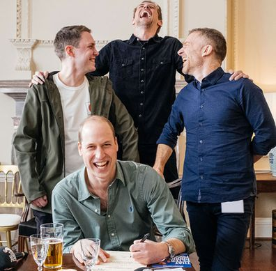 Prince William behind the scenes of That Peter Crouch Podcast recording in March at Kensington Palace