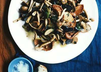 "Recipe: <a href=""http://kitchen.nine.com.au/2016/05/19/17/16/warm-salad-of-mushrooms-with-many-olives"" target=""_top"">Warm salad of mushrooms with many olives</a>"