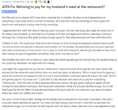 Wife on talks about money problems on Reddit.