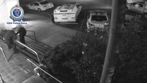He runs up to the male constable and tries to stab him with a knife. Picture: NSW Police