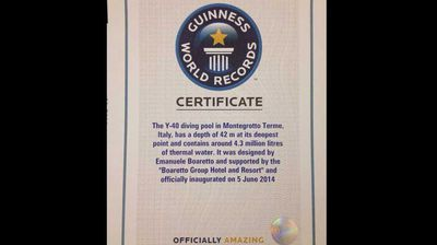 Earlier this month, Guinness officials certified the pool as the world's deepest, at 42 metres.