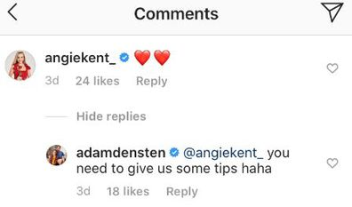 Gogglebox Angie Kent, Yvie Jones, Adam Densten, Symon Lovett, Instagram comment