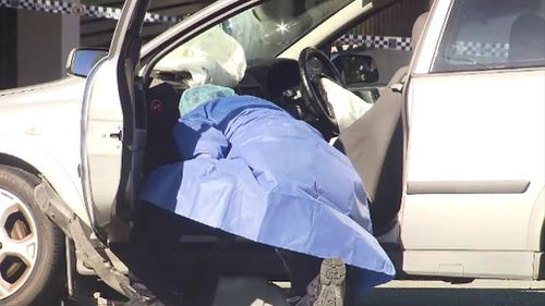 The airbag deployed with the force of the crash. Picture: 9NEWS