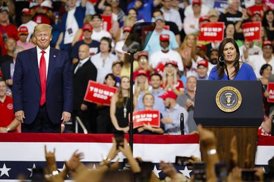 Sarah Sanders speaks during a rally at the Amway Center in Orlando, Florida on June 18, 2019.