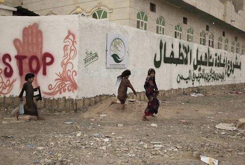 Children play at a rehabilitation center for former child soldiers in Marib.
