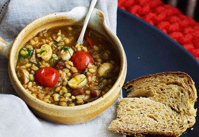 Porcini, pancetta & barley soup with dill