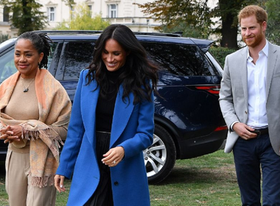 The Duke and Duchess of Sussex in London with Doria Ragland.