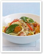 Roast pumpkin and zucchini pasta