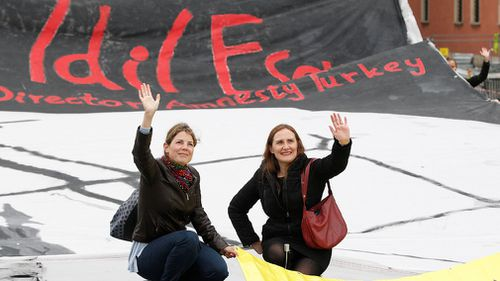 Amnesty International Poland members staged a demonstration calling for the release of Idil Eser. (AAP)