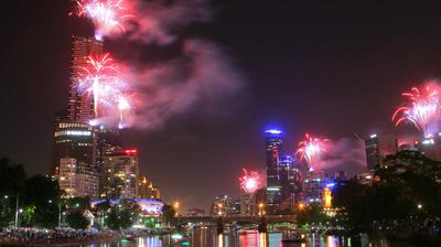 The view of Melbourne's fireworks from the Yarra. (AAP)