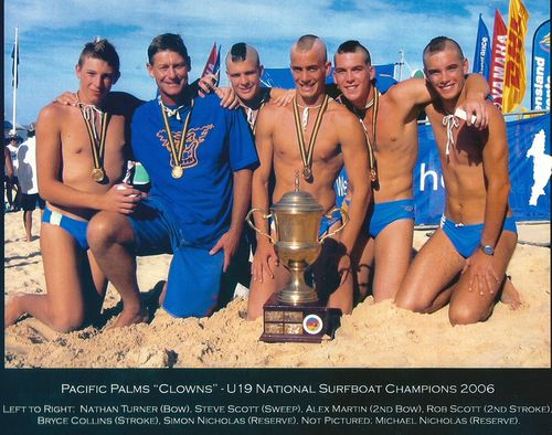 Robert, centre, won the National U19 surf boat championship with his team in March 2007, in Pacific Palms where he was living, on the mid NSW coast.