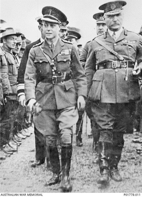 Sir Granville Ryrie (right) escorts the Prince of Wales (left). (Australian War Memorial/PO1778.011)