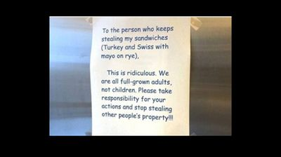 Nothing sparks the ire of an office worker more than having their food stolen from the communal fridge. A hilarious exchange between a sandwich thief and their victim has been shared 200,000 times after being shared by a New Zealand radio station. While some people have questioned if the exchange is a hoax the back and forth is undeniably hilarious. Above is the note which started the war between the two office workers. (All images More FM)