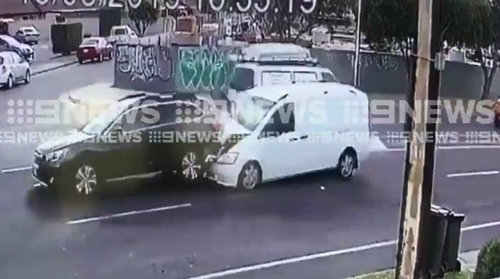 The white van then crashed into the back of a stationary Subaru, narrowly missing the cyclist.
