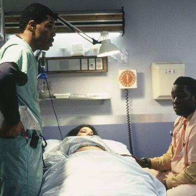 Eriq La Salle Deezer D on the set of ER in 1995