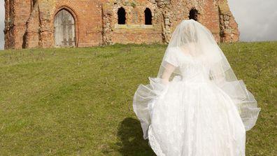 Bride arriving to funeral in wedding dress