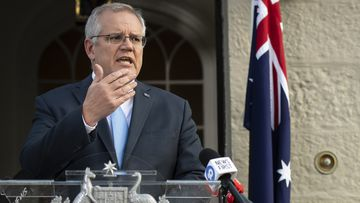PM Scott Morrison holds a Press Conference with Premier of New South Wales Gladys Berejiklian and New South Wales Treasurer Dominic Perrottet to announce COVID-19 financial relief.