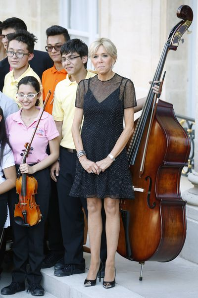 Brigitte Macron attends the 'Fete de la musique' during the visit of Colombian President, Juan Manuel Santos and his wife Maria Clemencia Rodriguez de Santos at the Elysee Presidential Palace in June, 2017