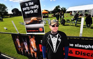 Protesters gather outside Melbourne Cup