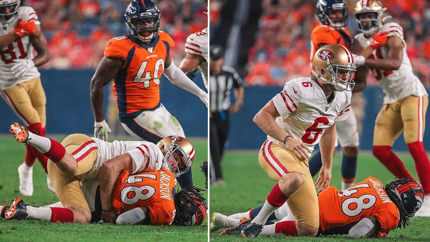 Aussie rookie NFL punter Mitch Wishnowsky stuns with crunching tackle after kick-off